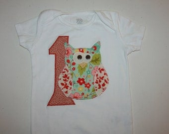 First Birthday Owl Onesie made to order Birthday shirt first birthday shirt tshirt onesie baby onesie