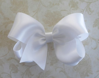 Large White Satin Twisted Boutique Bow  - Baby HairBow - Girls Satin HairBow