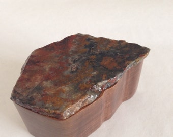 Wooden Box with Stone Lid - Mottled Red. Black and Gray