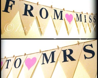 From Miss To Mrs Banner-Bridal shower-wedding banner-Party Banner -Wedding Shower-Couple Banner-canvas banner-just married