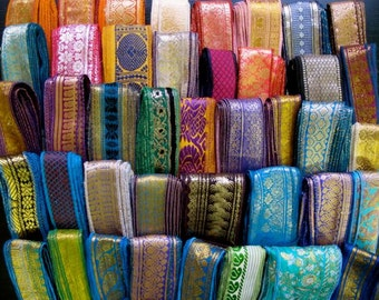 20 Yards Mixed Silk Sari Borders, Sari Trim, SR60