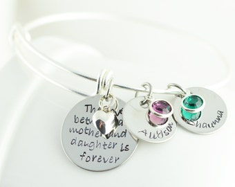 Hand Stamped Bangle Bracelet - Personalized Bangle Bracelet - Mother Daughter Gift - Name Bracelet - The Love Between A Mother And Daughter