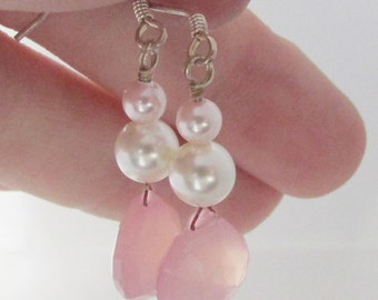 Earrings Shabby Chic Hues Blush Chalcedony White Pearl drop sterling silver