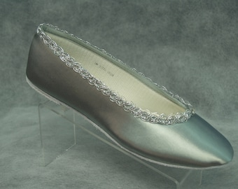 Silver Wedding flats, Satin ballet slippers Shoes Hand dyed and trimmed with silver, 25th anniversary, MOB MOG, comfort and beauty