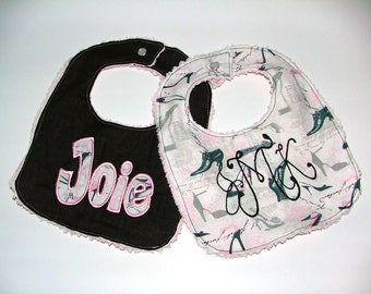 Monogrammed Personalized Bibs Gift Set of 2 Embroidered Newborn Girl Chenille Baby Bibs