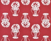 """Premier Prints Lobster Timberwolf Red Macon Fabric - Home Dec Fabric - 54"""" wide - 1/2 yard, Additional Available - 54"""" wid"""