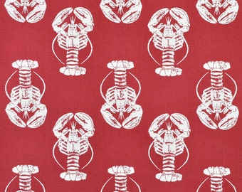 "Premier Prints Lobster Timberwolf Red Macon Fabric - Home Dec Fabric - 54"" wide - 1/2 yard, Additional Available - 54"" wid"