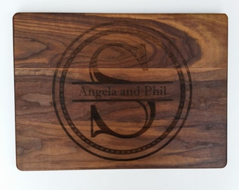 PERSONALIZED CUTTING BOARD / Establishment Monogram cutting board Carved from Dark Walnut Wood.