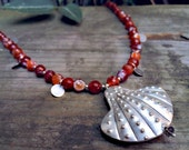 Uni - Red Agate & Sterling Silver Statement Necklace