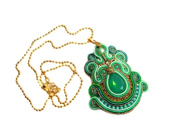 Soutache pendant - very elegant, eyecatching and classy - AMAZON RAINFOREST