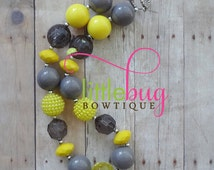 Yellow Gray Striped Chunky Bubblegum Bead Necklace - Photo Prop Newborns, Toddlers, Girls, Babies - Beads - Red, White, Black