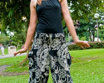 Thai Tribe pants in Cotton, Black & White with tribal flower print