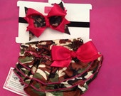 Camo princess satin diaper covers and matching bow with headband