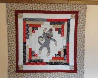 Sock Monkey Applique Baby Quilt,  Extra Large Appliqued Sock Monkey.  Very Modern, Original Quilt in Tan, Grey, Black Red and White.