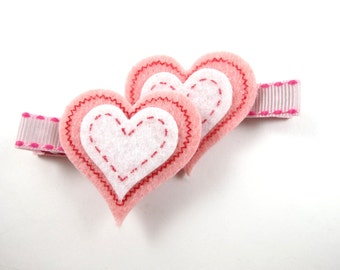 Pink Hair Clips - Pink Heart Hair Clips - Pink and White Heart Hair Clip Set -  Small Day Hair Clips - Hair Clip Set