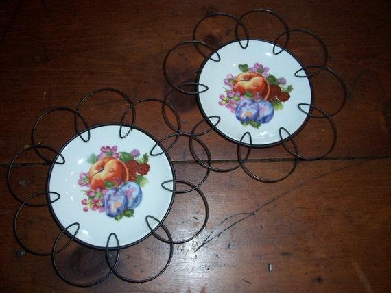 Vintage Fruit Plate Framed In Black Metal Wire...Set Of 2