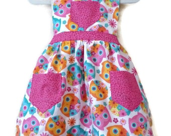Children's Apron, Toddler apron, Girls Apron, Baking Apron, Cooking Apron, Owl Apron, Kids Apron, Little Girl Apron
