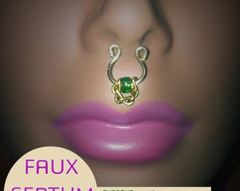 EMERALD Faux Septum Ring - (no piercings required - Made To Order)