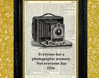 Dictionary Print Vintage Camera Illustration on Vintage Dictionary Page, Dictionary Page Art, Upcycled Book Page