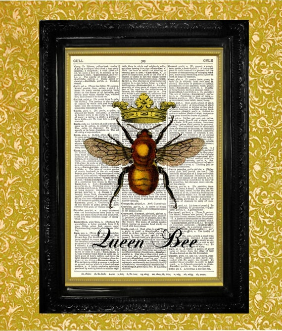 Items Similar To Queen Bee Dictionary Print Recycled Vintage Book Page Upcycled Art Home Or