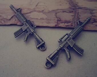 10pcs of Antique bronze gun charm pendant  18mmx52mm