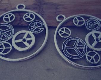 6pcs of  Antique silver Peace symbol pendant charm 42mm
