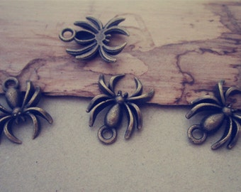 30pcs  Antique bronze spider charm pendant  14mmx18mm