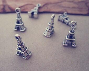 30pcs  Antique Silver Eiffel Tower pendant charm 8mmx16mm