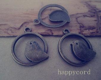 20pcs  Antique bronze  Bird Charms pendant 21mm