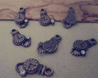20pcs Antique bronze clock Charm Pendant  10mmx17mm