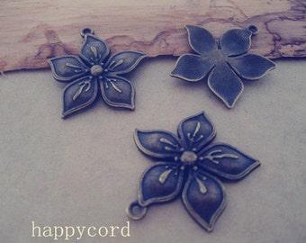 10pcs Antique Bronze flowers  pendant charm 32mm