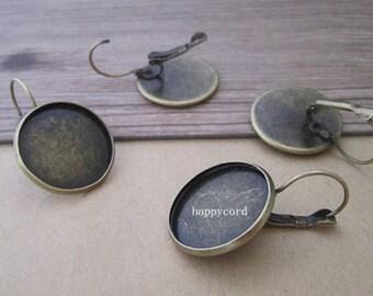 16pcs antique bronze  (copper) ear hooks base  20mm