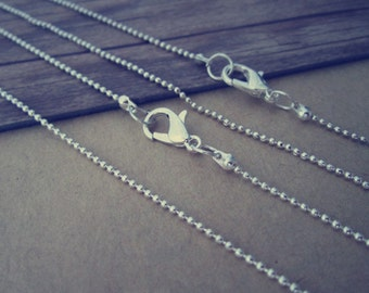 15pcs  1.2mm  30inch  Silver color ball necklace chain with Lobster Clasp