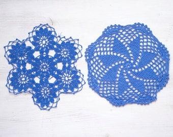 2 Lavender Crochet Doilies hand dyed vintage Doilies