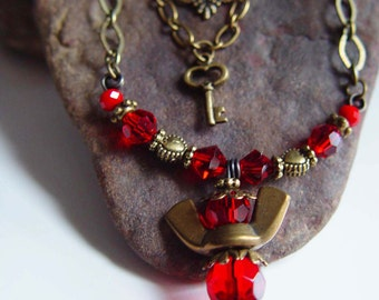 Antique Bronze and Blood Red Beaded Wingnut Angel Necklace with Key Charm