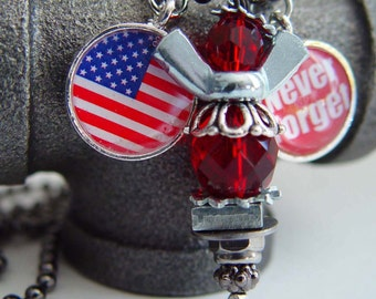 Human Angel 911 Tribute Angel Necklace, Red & Silver Wing Nut Never Forget Flag Charm