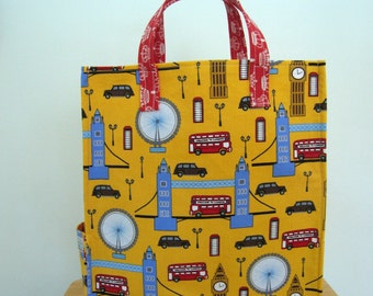 London Eco Bag, Fun Tote, Grocery Bag, Market Tote, Carry All Bag, Big Ben, Double Decker Bus, Taxi, London Eye, Tower Bridge, Yellow Tote