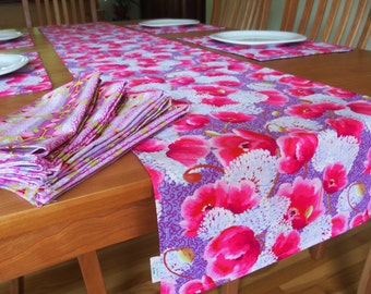 "Lavender and Pink Table Runner Centerpiece Runner with Allium and Poppy Flowers Long 84"" - Memory Lane"