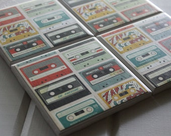 Vintage Cassette Coasters Four Piece Ceramic Tile Set