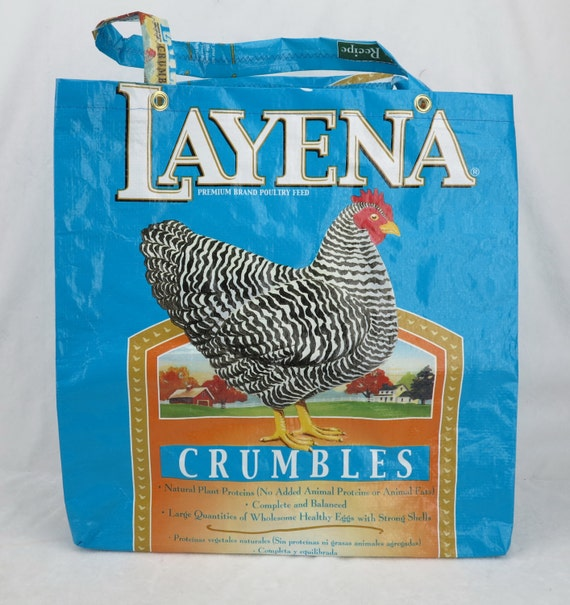Upcycled Recycled Repurposed Purina Layena Chicken Feed Tote Bag for Shopping or Crafts