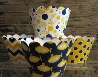Yellow and Navy Submarine Standard Cupcake Wrappers