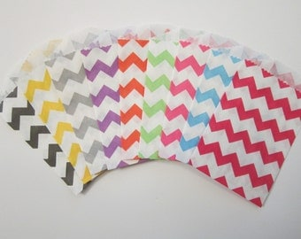 Little Bitty Chevron Favor ~Treat ~ Candy ~ Gift Bags Set of 10