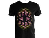 Big black eye with yellow purple dots and a purple symbol in the background of the black tshirt