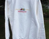 White Minnesota Embroidered Sweatshirt  Size Large