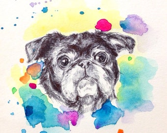 Custom Pet Portrait - Graduation Gift - Watercolor pen drawing, personalized dog art, personalized present, holiday gifts
