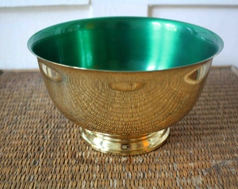 Vintage brass bowl with green enamel interior, Paul Revere style
