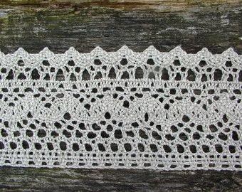 Stone Linen Lace Trim--French Style Flax Linen Lace--Ecru Wide Rustic--Luxury Trim Vintage High Fashion--for DIY Projects
