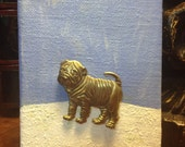 Dog Brooch - Mini Art - Vintage signed brooch JJ - Sharpei dog lovers - Unique Brooch Art