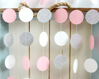 Silver Glitter, White, Pink 10 ft Circle Paper Garland- Wedding, Birthday, Bridal Shower, Baby Shower, Party Decorations