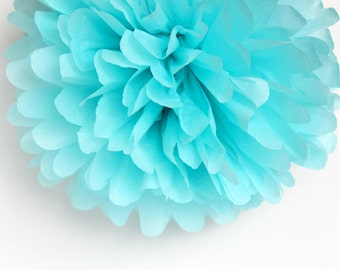 Aqua Tissue Paper Pom Poms- Wedding, Birthday, Bridal Shower, Baby Shower, Party Decorations, Garden Party
